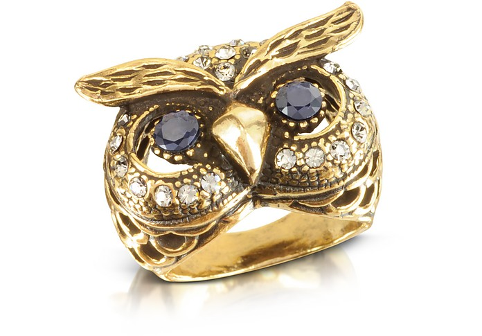 gold diamond owl ring